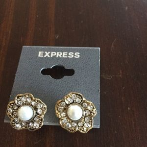 Express Gold Flower and Pearl Post Back Earrings
